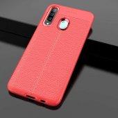 Samsung Galaxy A20S Kılıf Deri Görünümlü Silikon Zore-3
