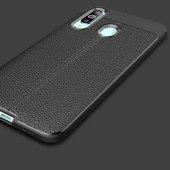Samsung Galaxy A20S Kılıf Deri Görünümlü Silikon Zore-5