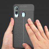 Samsung Galaxy A20S Kılıf Deri Görünümlü Silikon Zore-7