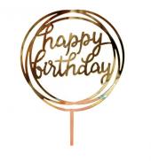 Kek Topper, Cake Topper, Happy Birthday Temalı Yuvarlak