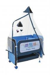 Happy Baby Anne Yanı Asansörlü Beşik Mavi