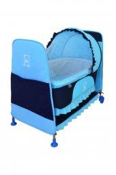 Happy Baby Portatif Sepet Beşik Tekerlekli Mavi...