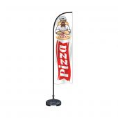 Reklam Ediyoruz Yelken Bayrak Pizza Temalı Bidon Ve Direk Dahil
