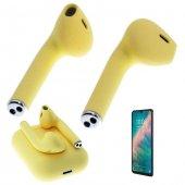 Oppo Reno Z Uyumlu Kulaklık Tws Bluetooth Sarı Kablosuz Kulaklığı Sport Stereo