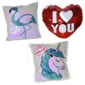 Peluş Pullu Flamingo Ve Unicorn Yastık Pembe...