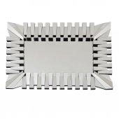 Fidex Home Lüks Piyano Modern Dikdörtgen Büyük Ayna 118cm Gümüş