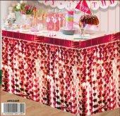 Masa Kenarı Eteği Kalpli Fonsüsü Metalize Kırmızı 1 Set