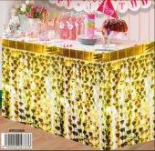 Masa Kenarı Eteği Kalpli Fonsüsü Metalize Altın Pakette 1 Set