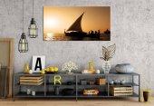 yn-158 Sabahın İlk Işıkları Yelkenli Panoramik Kanvas Tablo