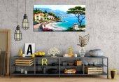 prcdr9906 Yağlı Boya Sahil Kasabası Panoramik Kanvas Tablo