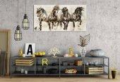 hrs27 Koşan Atlar 5 Panoramik Kanvas Tablo