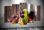 yz66 Şarap ve üzüm 5 Parça Kanvas Tablo