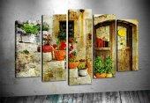 sz2304 Vintage Kapı 5 Parçalı Kanvas Tablo