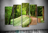 Rpt54 Yeşil Kahverengi Orman Patika 5 Parçalı Kanvas Tablo