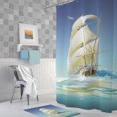 Zethome Tropik Ship Banyo Duş Perdesi Tek Kanat 1x180x200