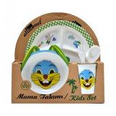 Tavşan Figürlü Mama Yediren Melamin Çocuk Bebek Kase Kabı Kap Set