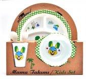 Tavşan Melamin Bebek Mama Yemek Tabağı Kabı Bardak Kaşık 5li Set