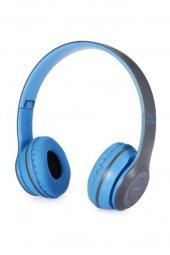 Katlanabilir Bluetooth Kablosuz Oyuncu Kulaklığı P47 Mavi Aa76