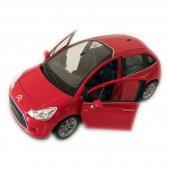 10 Cıtroen C3 1 24 Ölçek Kırmızı Model Oyuncak Araba