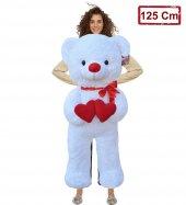 Peluş Beyaz 125 Cm Çift Kalp Tutan Uzun Ayıcık Peluş Oyuncak Ayı Sevgililer Günü Hediyesi
