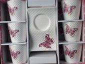 Lavin Porselen Kelebekli Kahve Fincan Takımı...