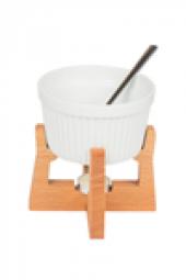 Joy Kitchen Fondü Seti Porselen Tabak Ahşap Standlı Fondü Seti