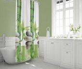 Zethome Tropik Banyo Duş Perdesi 10056 Çift Kanat 2x120x200