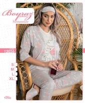 12026 Kadın Penye 3lü Pijama Takımı Gri