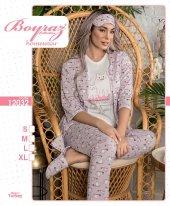 12032 Kadın Penye 3lü Pijama Takım