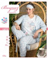 12016 Kadın Penye 3lü Pijama Takımı Pembe