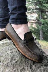 Yeni Model Vizyon (704) Vizon Taba Lastık Tokalı Erkek Ayakkabı