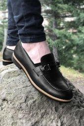 Yeni Model Vizyon (702) Siyah Cilt Metal Tokalı Erkek Ayakkabı