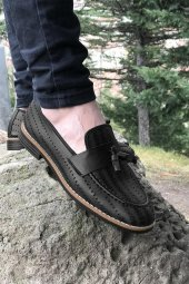 Yeni Model Vizyon (750) Siyah Nokta Desenli Erkek Ayakkabı