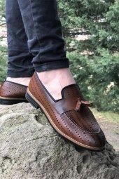 Yeni Model Vizyon (750) Kahve Nokta Desenli Erkek Ayakkabı