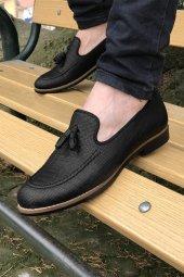 Yeni Model Vizyon (701) Siyah Çizgi Desenli Püsküllü Erkek Ayakkabı