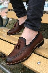 Yeni Model Vizyon (701) Taba Çizgi Desenli Püsküllü Erkek Ayakkabı