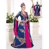 Sarmal Taşlı Saten Bindallı Elbise