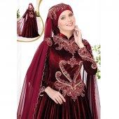 Kadife Tesettür Kaftan Elbise