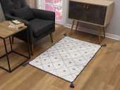 Caretta Home 160x230 Gri Beyaz Ponponlu Dama Desenli Dokuma Kilim-2
