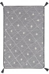 Caretta Home 160x230 Gri Beyaz Ponponlu Dama Desenli Dokuma Kilim-3
