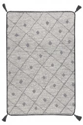 Caretta Home 160x230 Gri Beyaz Ponponlu Dama Desenli Dokuma Kilim-4