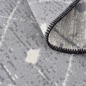 Caretta Home 160x230 Gri Beyaz Ponponlu Dama Desenli Dokuma Kilim-5