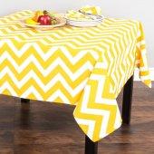 Zeren Home Zigzag Desen Dertsiz Mutfak Masa Örtüsü Sarı Beyaz 160cm X 220cm