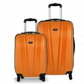 Tutqn Kırılmaz 2li Valiz Seti Orta+kabin Turuncu