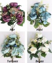 Yapay Çiçek 11 Dal Lüx Gül Aranjmanı 4 Renk