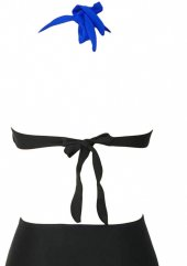 Angelsin Mavi Siyah Bikini üst-4