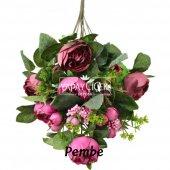 Yapay Çiçek 18 Goncalı Büyük Gül Aranjmanı 6 Renk-12