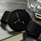 Crrju Erkek Kol Saati 2150 Siyah Hasır Sade ve Şık Tasarım Saat-2
