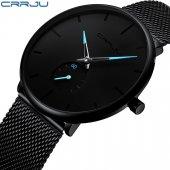 Crrju Erkek Kol Saati 2150 Siyah Hasır Sade ve Şık Tasarım Saat-4