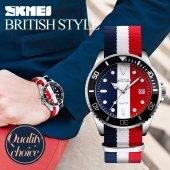 Skmei Sade Minimalist Tasarım Erkek Kol Saati Gümüş Nato Saat